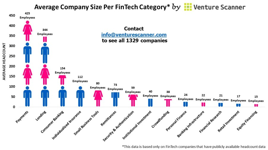 Average Company Size Per FinTech Category