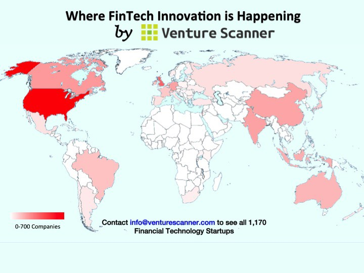 Our Updated Heat Map Indicates Where Fintech Startups Exist Across 54 Countries Currently The United States Is Leading The Way With 680 Companies
