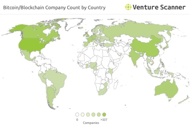 Bitcoin and Blockchain Startup Count by Country