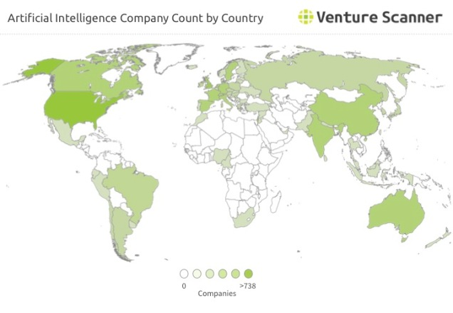 Artificial Intelligence Company Count by Country