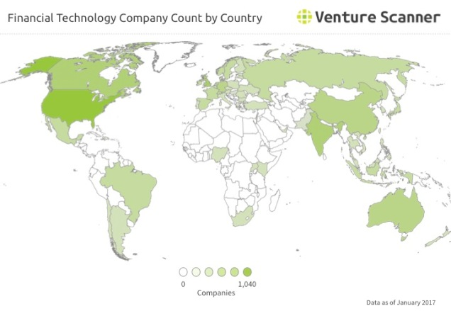 Financial Technology Q1 2017 Company Count by Country