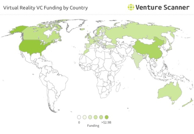 VR VC Funding by Country Q1 2017