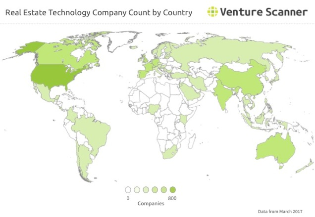 Real Estate Technology Company Count by Country Q2 2017
