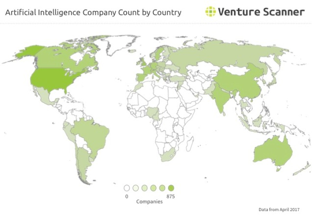 AI Company Count by Country Q2 2017