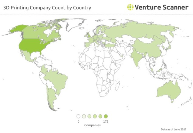 3D Printing Company Count by Country Q3 2017